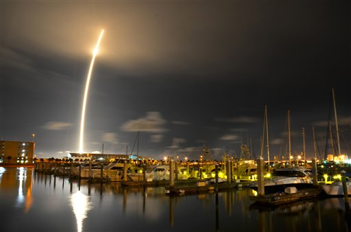 A 71-second exposure as seen from Port Canaveral on Sunday. SpaceX's Falcon 9 rocket successfully lifted off from Cape Canaveral Air Force Station, bringing supplies destined for the ISS into orbit.