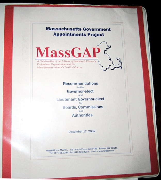 """This photo released Wednesday, Oct. 17, 2012 by the Massachusetts Women's Political Caucus shows the cover of a binder produced in 2002 by the Massachusetts Government Appointments Project, listing names of potential female candidates for high-level positions in the state. During the Tuesday night debate against President Barack Obama, Republican presidential candidate, former Massachusetts Gov. Mitt Romney, referred to the MassGAP notebook in saying that he was sent """"binders full of women,"""" a comment which touched off a wave of social media parodies. (AP Photo/Massachusetts Women's Political Caucus)"""