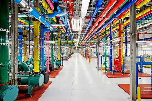 This undated photo provided by Google shows a data center in Douglas County, Ga., one of the eight data centers that Google Inc. has running in the U.S., Finland and Belgium.