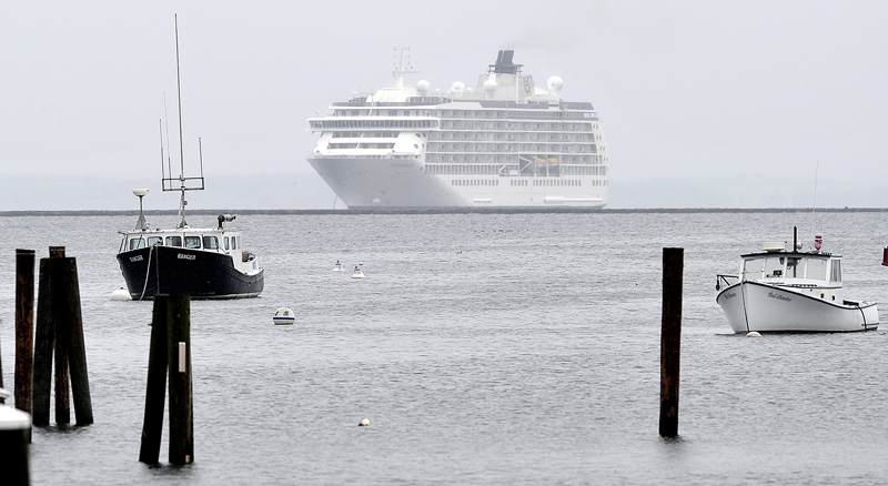 The World moors off Rockland on Friday, where it will remain for the weekend. Owners of the 165 studios and suites move onto the ship for months at a time.