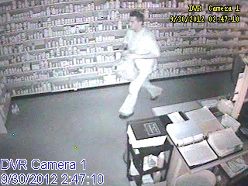 A video image of a burglary suspect at a Unity pharmacy.