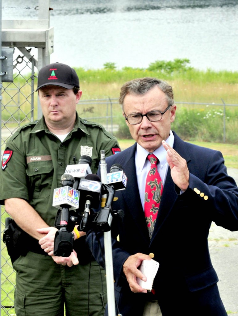 File photo by David Leaming Department of Public Safety Spokesman Steve McCausland, right, gives an update on the extensive search for Ayla Reynolds along the Kennebec River, in this file photo from July 17. At left is Lt. Kevin Adam of the Maine Warden Service.