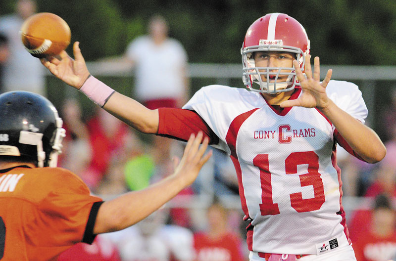 Cony High School graduate Ben Lucas leads the Rams into their Pine Tree Conference Class A matchup with unbeaten Lawrence tonight in Fairfield.
