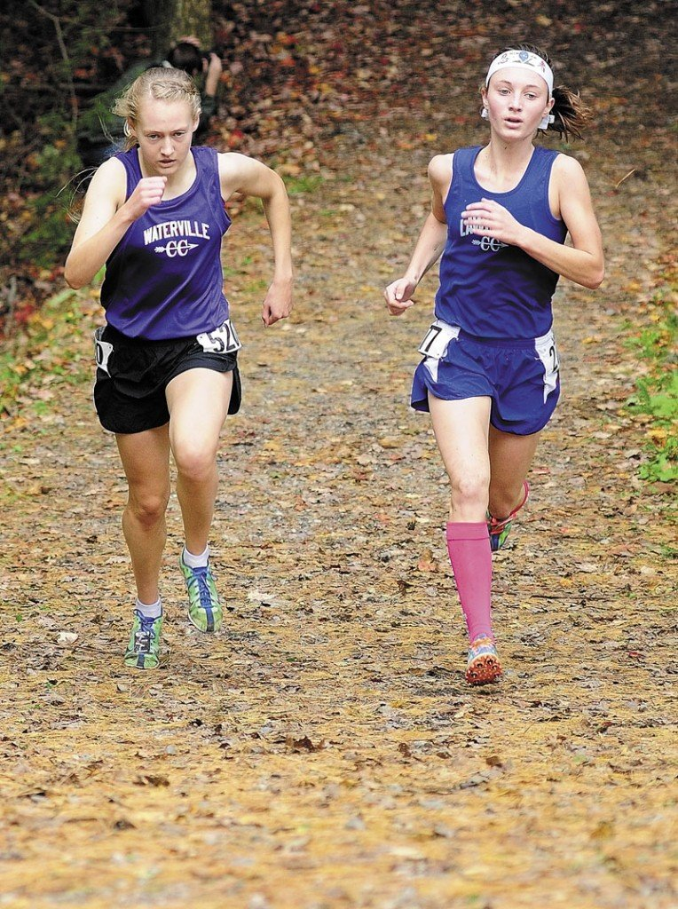 IN THE RUNNING: Waterville senior Bethanie Brown, left, and Lawrence senior Erzsebet Nagy are among the favorites to win the Class B and Class A state titles, respectively.