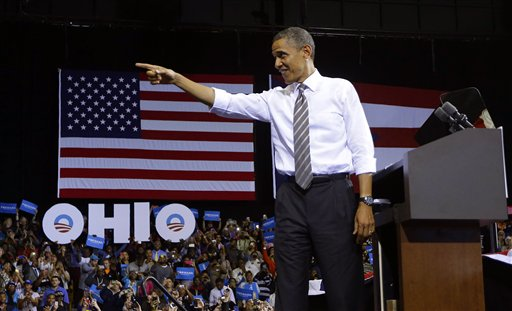 FILE -In this Sept. 26, 2012 file photo, President Barack Obama points to supporters before speaking at Kent State University in Kent, Ohio. So much for Mitt Romney's plan to compete for Democratic-leaning Michigan or Pennsylvania. And what about President Barack Obama's early hopes of fighting it out for GOP-tilting Arizona, Georgia or Texas? Forget them. The presidential battleground map is as compact as it's been in decades, with just nine states seeing the bulk of candidate visits, TV ads and get-out-the-vote efforts. A small fraction of Americans will determine the outcome of the race for 270 Electoral votes. (AP Photo/Pablo Martinez Monsivais, File)