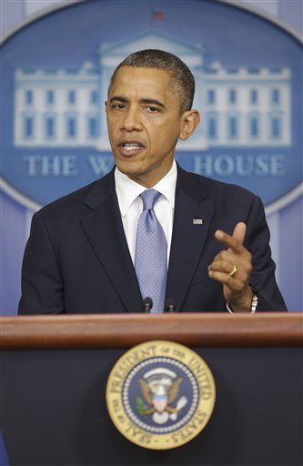 President Barack Obama speaks in the White House Briefing Room on Monday, after returning to Washington from Florida to monitor Hurricane Sandy.