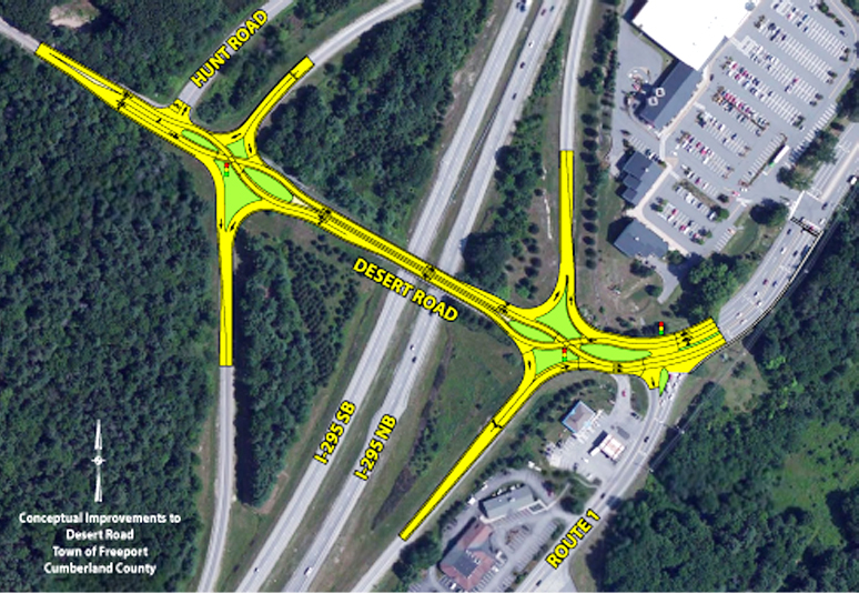 """This diagram show the """"diverging diamond"""" concept MDOT is proposing as a possilbe solution to traffic backups at the Desert Road interchange on I-295."""