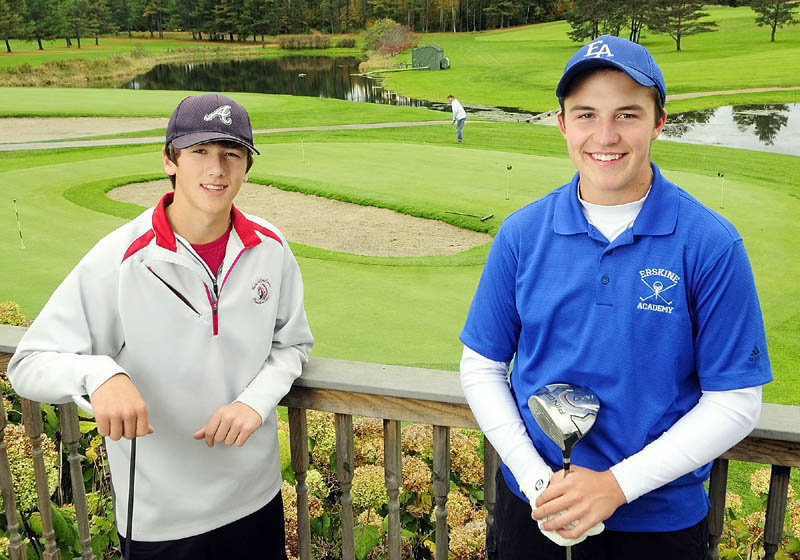 GOALS SET HIGH: Cony's Thomas Foster, left, and Erskine's Shawn Soucie both worked at Natanis Golf Club in Vassalboro this summer where they'll be competing in the state high school golf tournament Saturday.