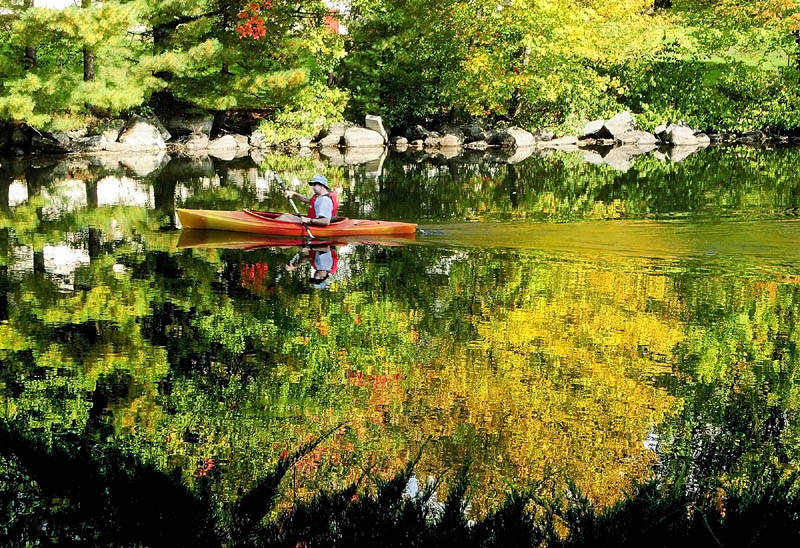 A kayaker paddles, past colorful fall foliage, along Mill Stream on Friday afternoon near the Route 27 bridge in Belgrade Lakes.