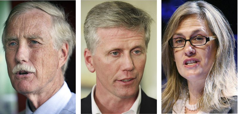 These file photos show Maine's leading candidates for U.S. Senate in the November 2012 general election. Left to right: Independent Angus King, Republican Charlie Summers and Democrat Cynthia Dill. (AP Photos, File)