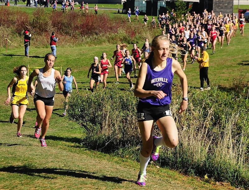 IN THE LEAD: Waterville's Bethanie Brown won the Kennebec Valley Athletic Conference Class B title with a time of of 18:59.4 on Saturday at Cony High School in Augusta.