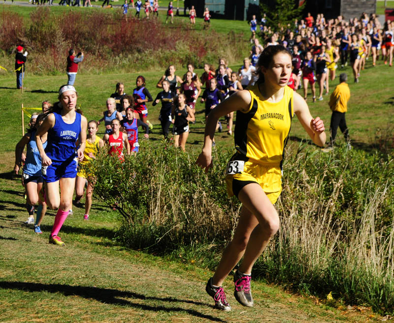 Maranacook's Caroline Colan, right, was in third and Lawrence's Erzsebet Nagy was fourth early in the race during KVAC cross country meet on Saturday morning at Cony High School in Augusta.