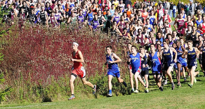 Gardiner's Christian Heath took off to an early lead during the Kennebec Valley Athletic Conference Cross Country Championships on Saturday morning at Cony High School in Augusta. Heath finished second in the Class B race with a time of 17 minutes, 10.3 seconds.