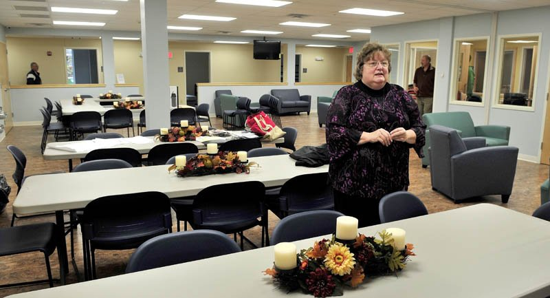 Mid-Maine Homeless Shelter Executive Director Betty Palmer gave a tour of the new shelter in Waterville last week. Palmer is speaking in the shelter's multipurpose room.