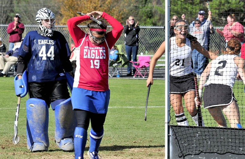 MIXED REACTION: Messalonskee's Natalie Hunt (19) throws her arms up in frustration as Skowhegan's Makaela Michonski (21) and Renee Wright celebrate a goal Monday in Skowhegan. Eagles keeper Abby Roberts is at right.