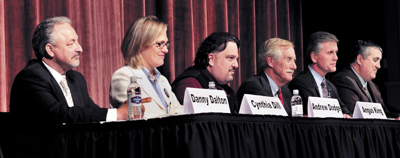 The six U.S. Senate candidates participate in a forum at the Waterville Opera House on Tuesday evening. From left are Danny Dalton, Cynthia Dill, Andrew Dodge, Angus King, Charlie Summers and Stephen Woods.