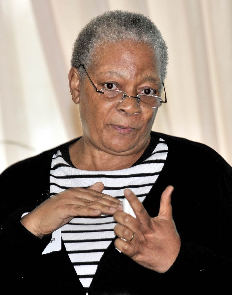 Zandile Nhlengetwa spoke during a Mid-Maine Global Forum in Waterville on Tuesday about her work in South Africa on gender-based violence.