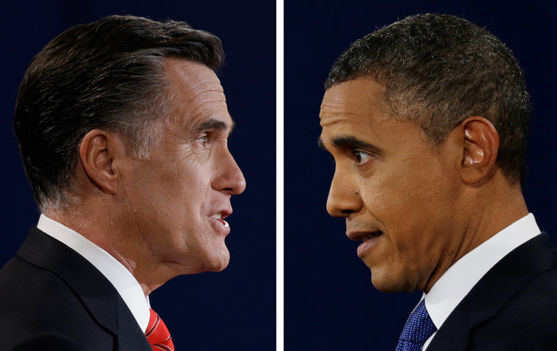Republican presidential candidate Mitt Romney and President Obama speak during their first debate Oct. 3. Romney campaigned in Florida on Sunday, while Obama sought to raise millions at celebrity events in California.