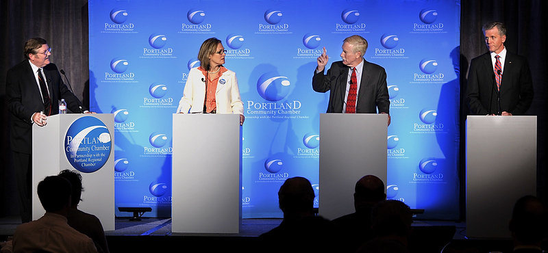 U.S. Senate candidates, from right, Charlie Summers, Angus King and Cynthia Dill debate in Portland on Tuesday.