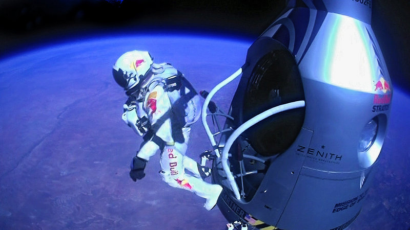 Felix Baumgartner of Austria jumps out of a capsule carried aloft by a balloon. From more than 24 miles up, he became the first free-falling human to break the sound barrier Sunday.