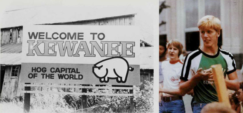 "Photo from Kewanee High School yearbook, 1978: Charlie Summers (right) in his hometown of Kewanee, Ill., now a rust belt town of 10,000, but in 1978 still arguably the ""hog capital of the world."""