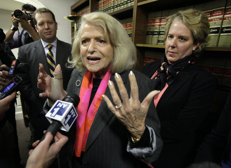 Edith Windsor, center, speaks at the offices of the New York Civil Liberties Union after a federal appeals court struck down part of the Defense of Marriage Act.