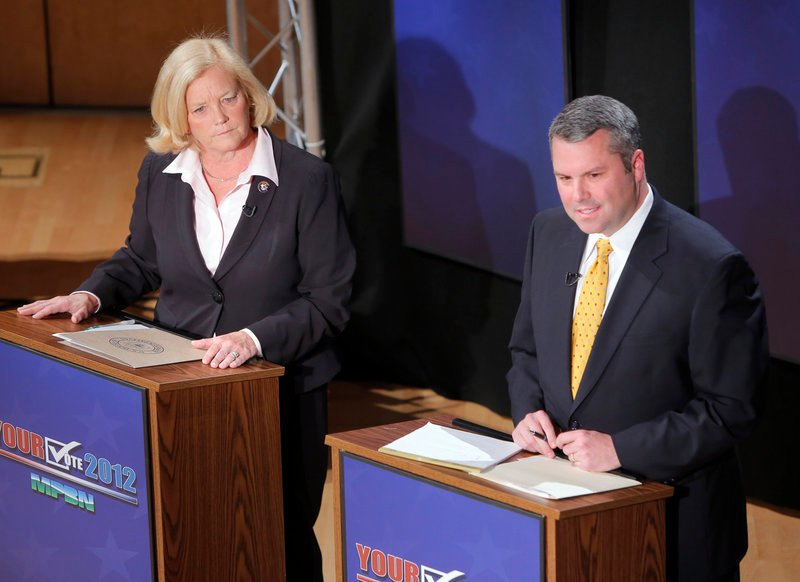 U.S. Rep. Chellie Pingree and Maine Senate Majority Leader Jon Courtney, candidates in the 1st Congressional District, differed on health care, education and military spending during a debate at Bowdoin College on Thursday.