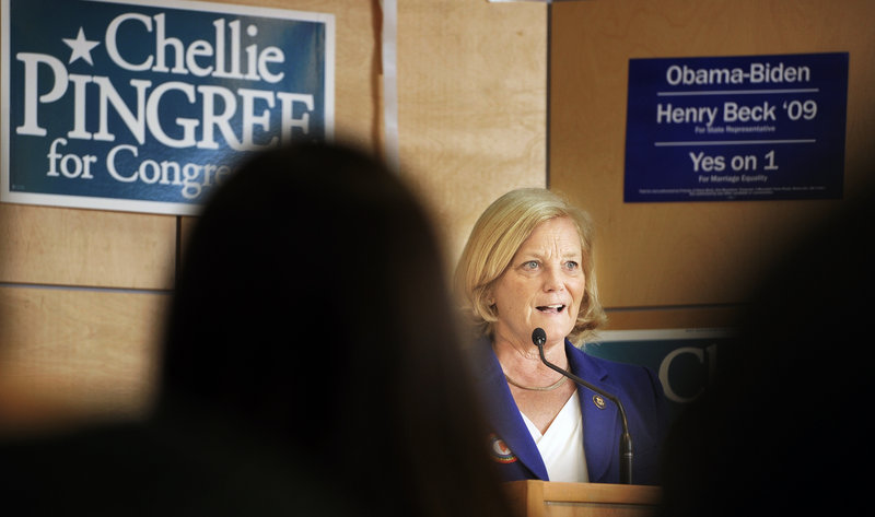 "U.S. Rep. Chellie Pingree speaks at a get-out-the-vote event at the Pugh Center at Colby College on Friday. ""Most people know me, so they'll either say 'Yeah, I'm in favor of keeping her' or 'No, it's time to go,'"" she said."