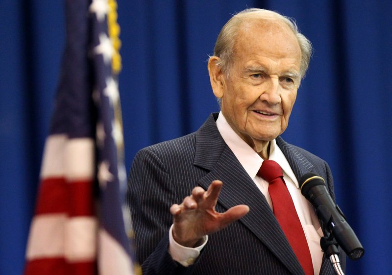 In this Jan. 20, 2012, photo, George McGovern speaks during First Coast Technical College's winter commencement ceremony on in St. Augustine, Fla. McGovern, the Democrat who lost to President Richard Nixon in 1972 in a historic landslide, has died at the age of 90.