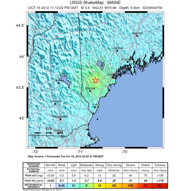 Map shows the intensity felt from Tuesday evening's 4.6 Richter earthquake with an epicenter in the southern Maine town of Hollis in York County.
