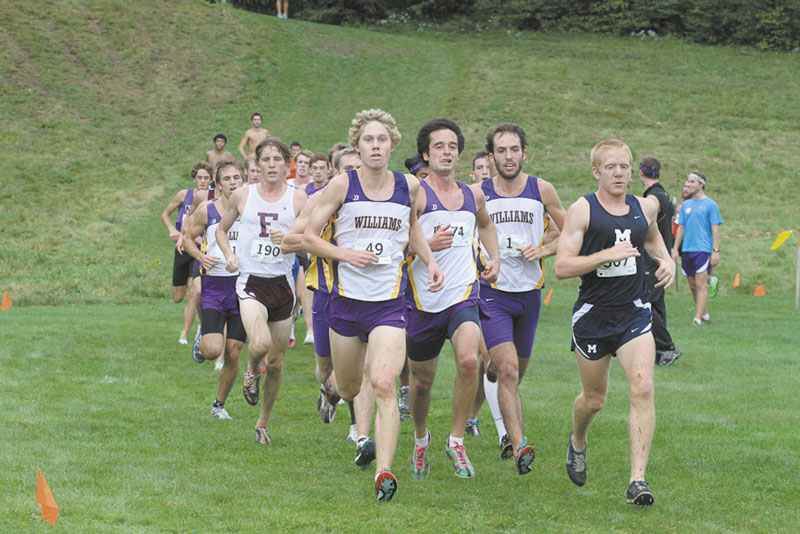 LEADING THE CHARGE: Hall-Dale graduate Wade Davis, front, is a captain for the Williams College cross country team. Davis was 23rd in last weekend's New England Small College Athletic Conference championships.