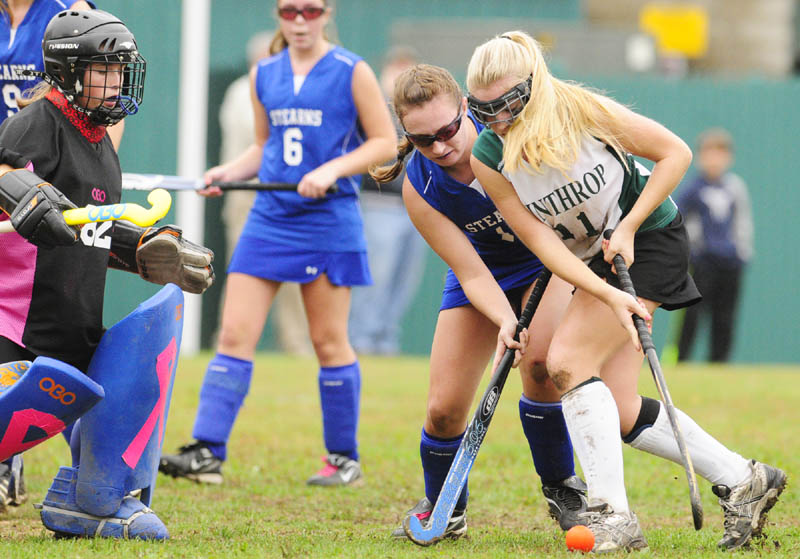 TITLE ON THE LINE: Rachel Ingram, right, and the Winthrop field hockey team face Dexter in the Eastern Maine Class C regional final today at Hampden Academy.