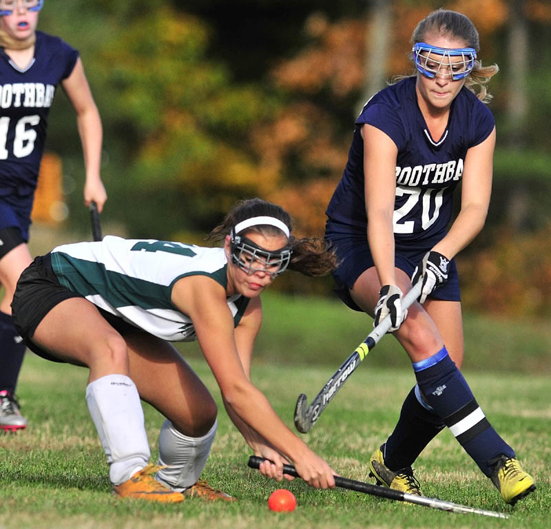 LOOSE BALL: Winthrop's Liz Glover, left, and Boothbay's Sarah Caron go after a loose ball during the Ramblers' 7-1 win in an Eastern C quarterfinal Tuesday afternoon in Winthrop.