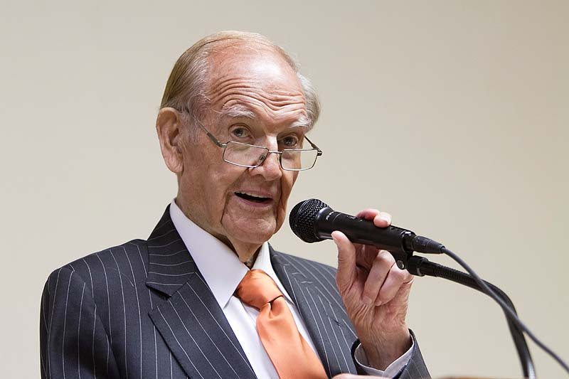 In this photo from July 24, 2010, former U.S. Sen. George McGovern speaks in Columbus, Neb. McGovern, whose anti-Vietnam War stance in his 1972 presidential race against Richard Nixon led to one of the worst electoral defeats in U.S. history, died on Sunday at the age of 90.