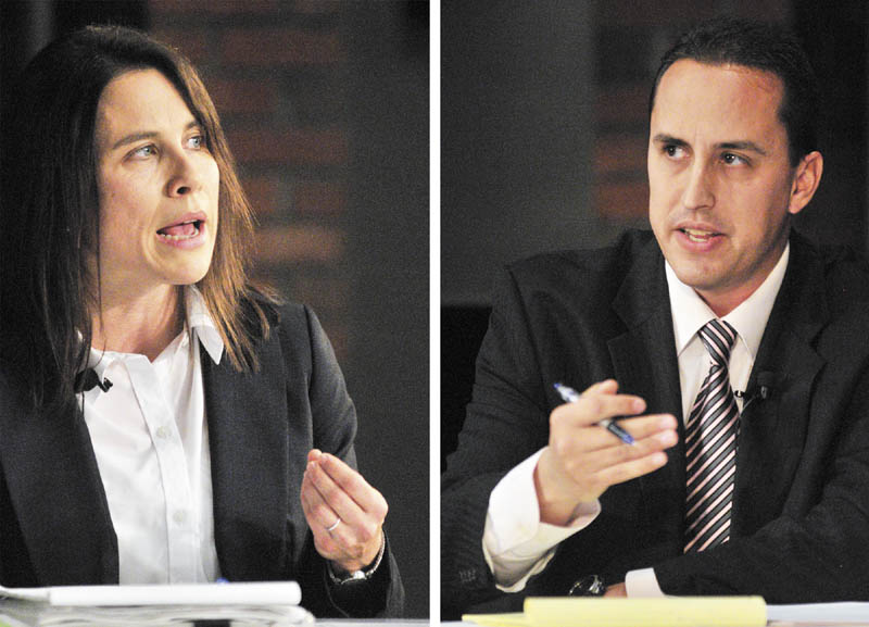 Candidates Maeghan Maloney, left, and Darrick Banda answer questions during the district attorney of Kennebec and Somerset counties debate, on Thursday night at Jewett Hall on the campus of University of Maine at Augusta.