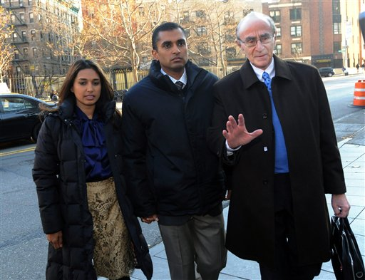 Mathew Martoma, center, former SAC Capital Advisors hedge fund portfolio manager, enters Manhattan federal court with attorney Charles Skillman on Monday in New York.