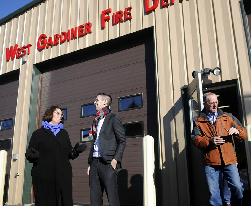 THE BIG DEBATE: House candidates Rep. Sharon Treat, D-Hallowell, and Republican challenger Will Guerrette, of West Gardiner, talk Tuesday as voters exit the polling place at the West Gardiner Fire Department.