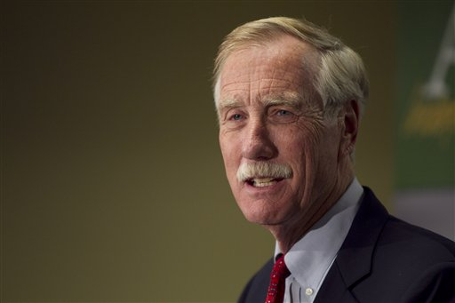 """Independent Senator-elect Angus King speaks at a news conference Wednesday in Freeport: """"We're tired of fighting, we're tired of bickering, we're tired of blaming . . . and we want some problems solved."""""""