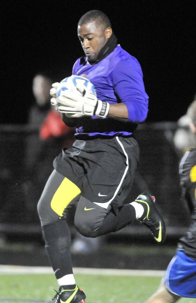 LEADING THE WAY: Goalkeeper Mikkail Crockwell is a vocal leader on the Thomas College men's soccer team. A native of St. David's, Bermuda, Crockwell did not allow a goal in the North Atlantic Conference tournament.
