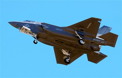 The first F-35B fighter jet attached to Marine Fighter Attack Squadron 121 arrives at Marine Corps Air Station Yuma in Yuma, Ariz., last Friday.