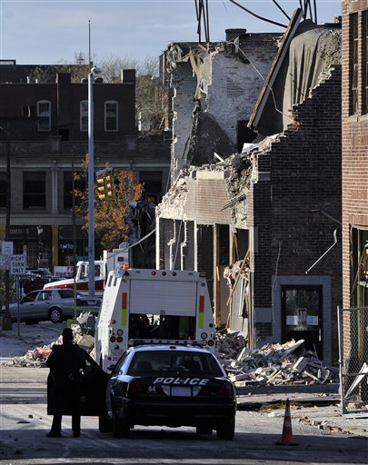The area where a gas explosion leveled a strip club in Springfield, Mass., on Friday evening.