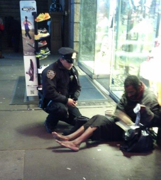 "Jennifer Foster of Florence, Ariz., was visiting Times Square with her husband Nov. 14 and saw a shoeless man asking for change. ""Right when I was about to approach, one of your officers came up behind him. The officer said, 'I have these size 12 boots for you, they are all-weather. Let's put them on and take care of you.' The officer squatted down on the ground and proceeded to put ... socks and the new boots on this man."