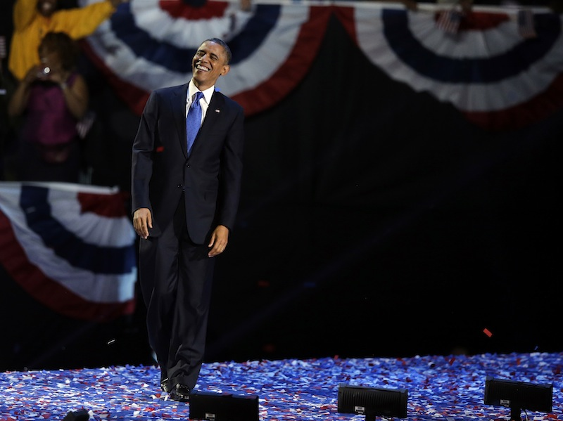President Barack Obama XXX at his election night party Wednesday, Nov. 7, 2012, in Chicago. President Obama defeated Republican challenger former Massachusetts Gov. Mitt Romney. (AP Photo/Chris Carlson)