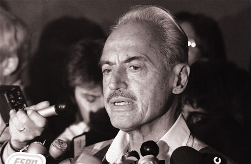 Marvin Miller speaks to reporters after rejecting a proposal to end a baseball strike in this July 16, 1981, photo.