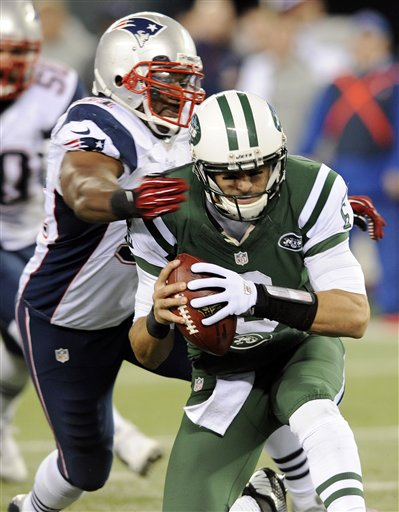 New England Patriots outside linebacker Jerod Mayo (51) sacks New York Jets quarterback Mark Sanchez (6) during the first half of an NFL football game Thursday, Nov. 22, 2012 in East Rutherford, N.J. (AP Photo/Bill Kostroun)