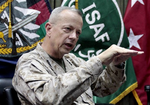 U.S. Gen. John Allen, top commander of the NATO-led International Security Assistance Forces and U.S. forces in Afghanistan.
