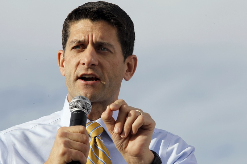 "In this Nov. 5, 2012, file photo then-Republican vice presidential candidate, Rep. Paul Ryan, R-Wis., gestures as he speaks during a campaign event at Johnson's Corner in Johnstown, Colo. Ryan acknowledges that he was shocked when he and presidential nominee Mitt Romney lost last week's election. Ryan says President Barack Obama won fair and square. In an interview with ABC News being aired Tuesday, Ryan says he and Romney thought they had a very good chance of winning Nov. 6. He cites polling, other data, and what he calls ""the smart people who watch this stuff"" for his optimistic view election night. (AP Photo/Mary Altaffer, File)"