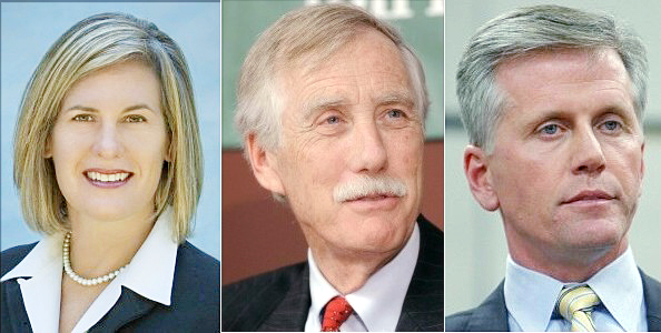 U.S. Senate candidates: Democrat Cynthia Dill, independent Angus King and Republican Charlie Summers. candidate Dill