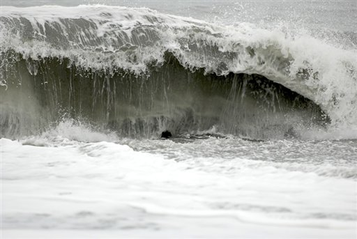 The surf at Big Lagoon beach creates a moderate undertow on Monday near Trinidad, Calif.