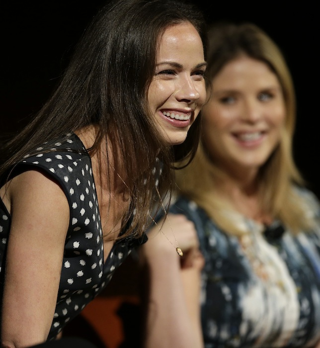 Barbara Pierce Bush, left, laughs with her sister Jenna Bush Hager, right,as they take part in the Enduring Legacies of America's First Ladies conference Thursday, Nov. 15, 2012, in Austin, Texas. The children of three presidents discussed life in the White House as part of a conference on first ladies at the Lyndon B. Johnson Presidential Library. (AP Photo/David J. Phillip)